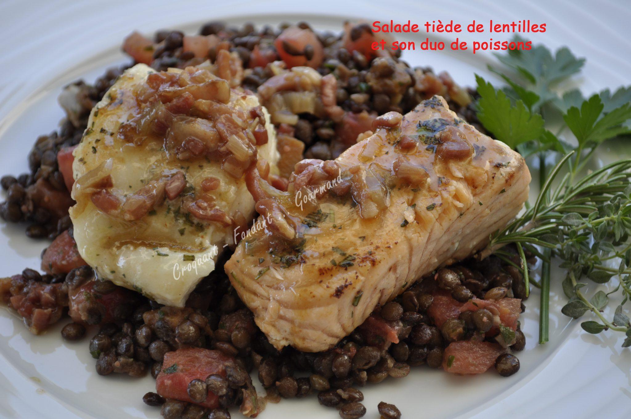 Salade de lentilles au duo de poissons croquant fondant for Salade poisson
